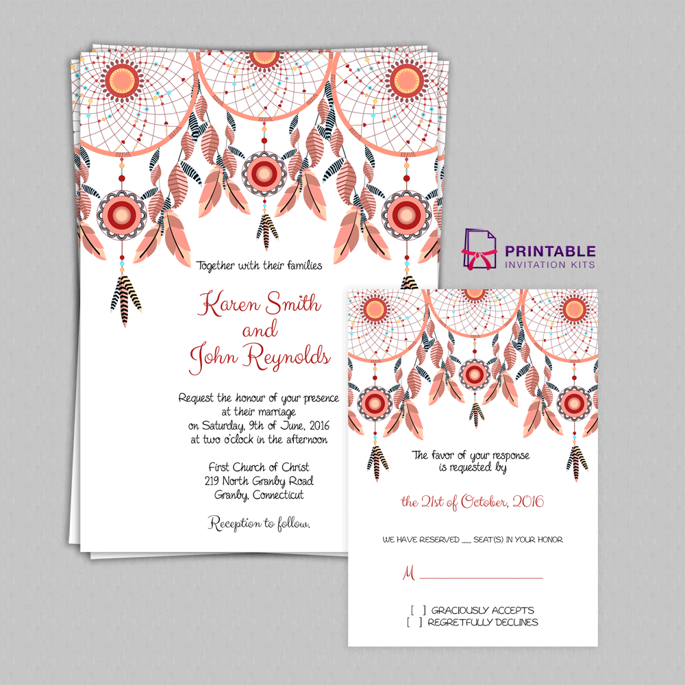 FREE PDF Boho Theme Dreamcatchers Wedding Invitation and RSVP ...