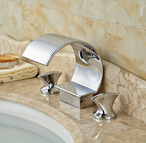 Widespread Bathroom Basin Sink Faucet 2 Knobs Deck Mounted Chrome Mixer Tap