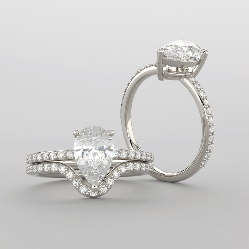 PEAR SHAPED DIAMOND ENGAGEMENT RING SET ALL OF ME LOVES ALL OF YOU