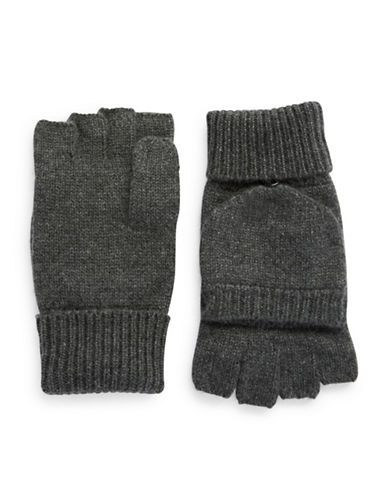 Black Brown 1826 Cashmere Fingerless Mittens Men's Charcoal