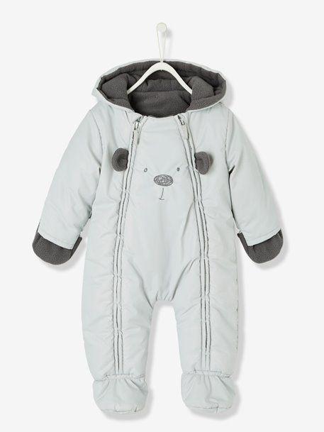 6ff16d393ed46 Combinaison-pilote bébé motif frimousse doublée et ouatinée Gris+Rose 1 -  vertbaudet enfant