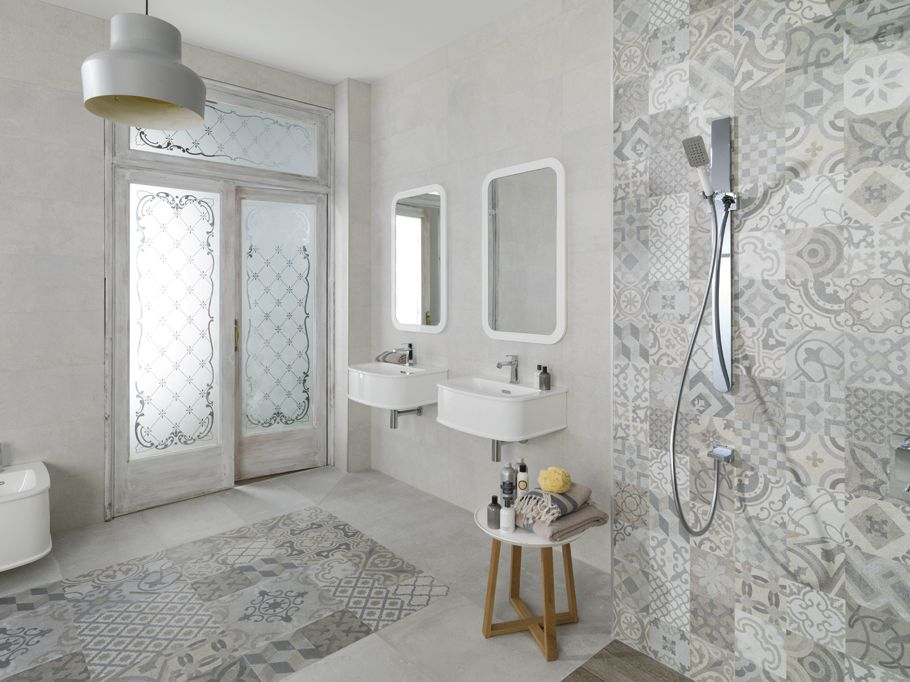 High Quality White With Patterned Overlay   50 Best Wet Room Design Ideas    Https://homebnc.com/best Wet Room Design Ideas/   #wet #room #bathroom  #ideas #decor ...