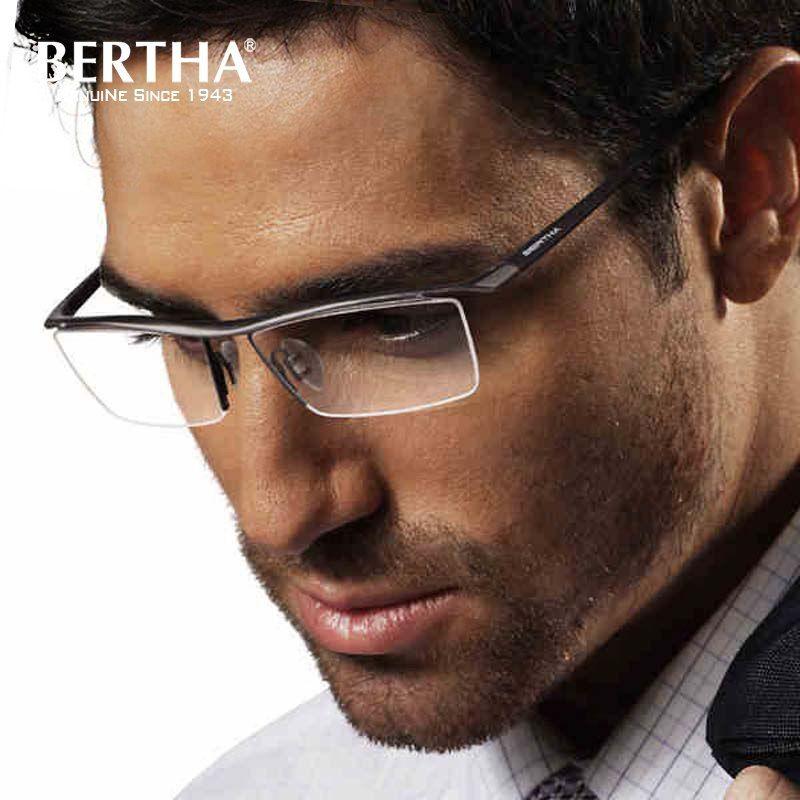 1b042563dcb Bertha 2018 Men Z Pure Titanium Semi-rimless Eyewear Business Optical  Glasses Frame Prescription Eyeglasses 8189