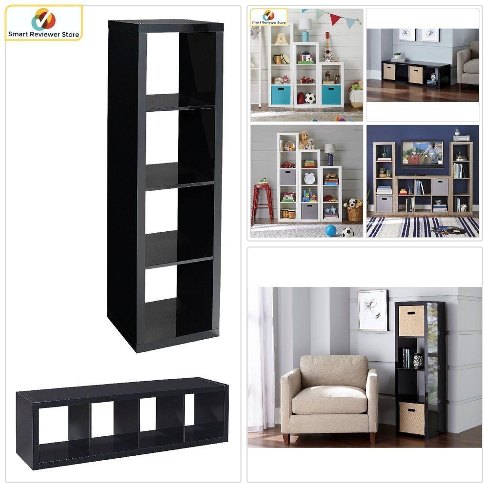 4 Cube Storage Organizer Black Bookcase