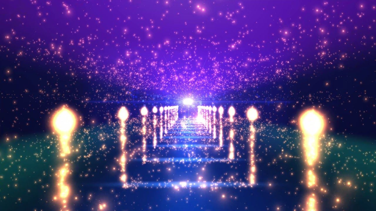 4k colorful stars hallway glowing carpet moving background