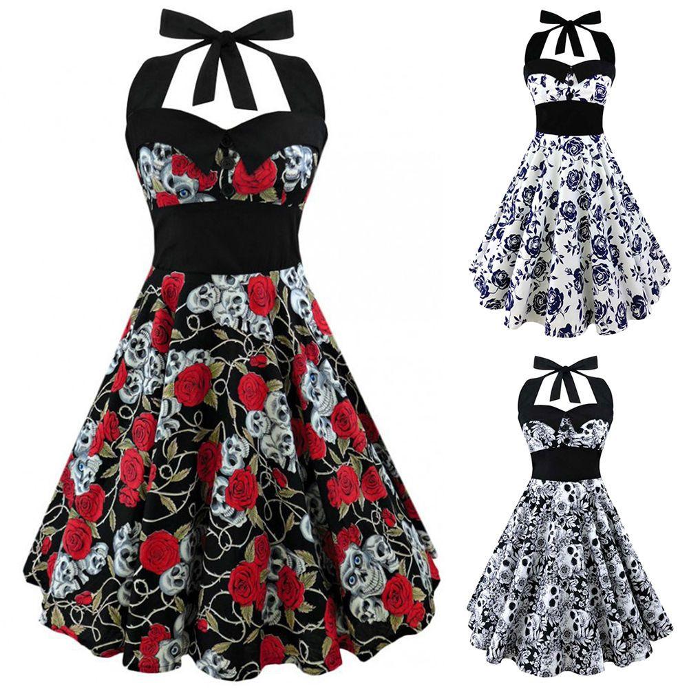 1f673b2e01c 50S 60S Vintage Rockabilly Dress Skull Rose Swing Halter Housewife Party  Dress