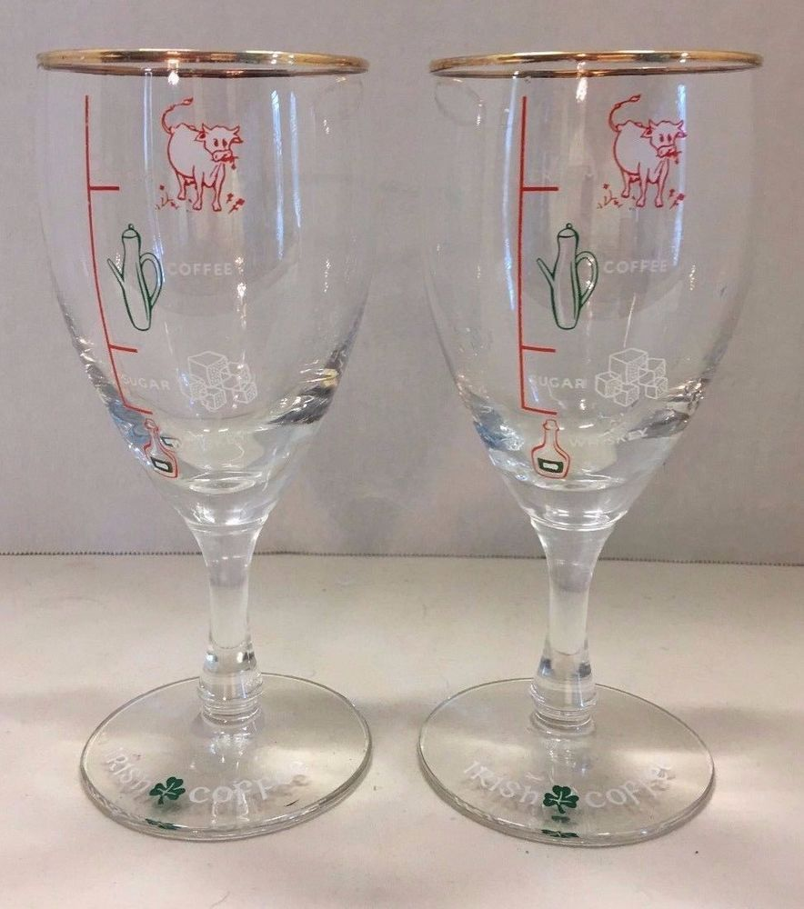 Set Of 2 Irish Coffee Gles Stemmed With Recipe On Gl Vintage