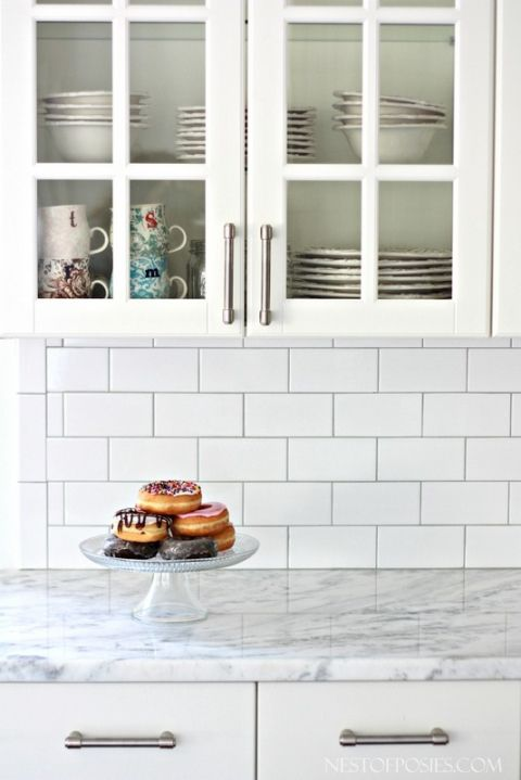 White subway tile as back splash Silver grout Name of tiles in