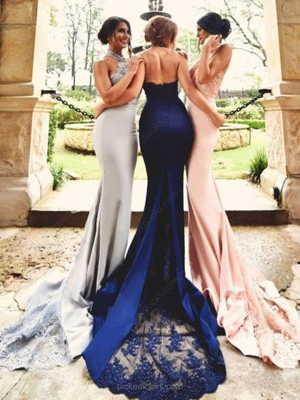 93f7653f59e Stunning Trumpet Mermaid Halter Royal Blue Tulle Silk-like Satin Appliques  Lace Court Train Backless Ball Dresses  PLS020103600