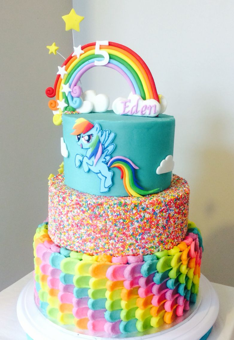 Rainbow Dash Cake Buttercream With Images My Little Pony Cake