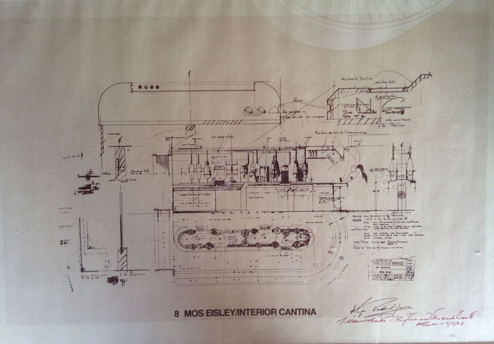 STAR WARS MOS EISLEY CANTINA BLUEPRINT 1977 COPY, SIGNED BY - copy blueprint of a book