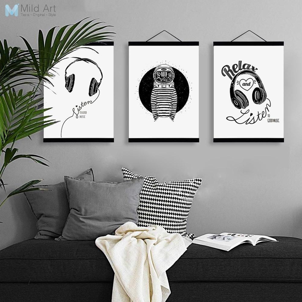 Black white abstract music triptych wooden framed canvas paintings