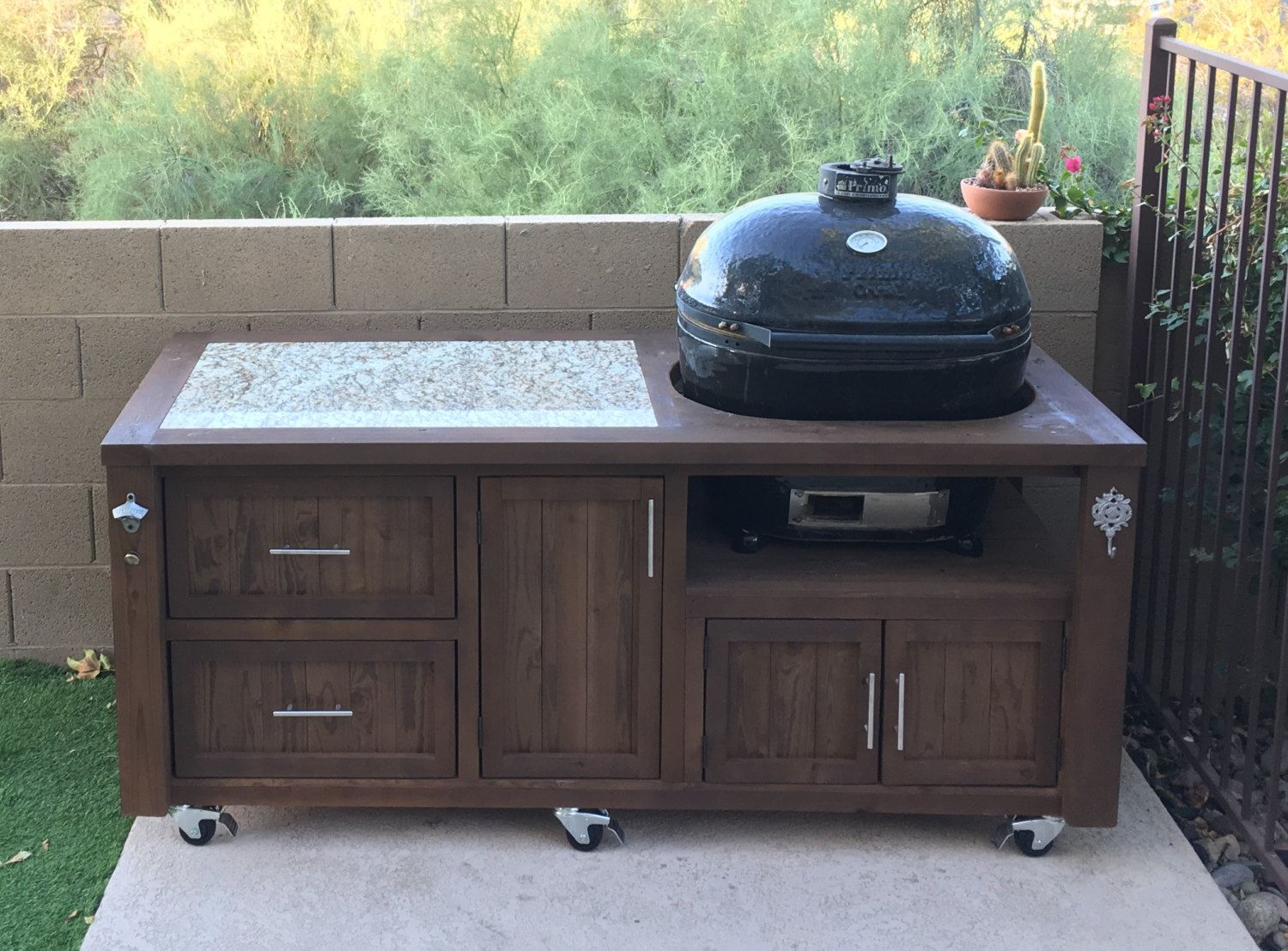 outdoor kitchen cart yellow towels primo grill cabinet rolling