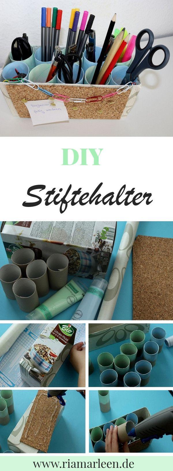 diy stiftehalter mit integrierter pinnwand selber machen diy deko pinterest schreibtisch. Black Bedroom Furniture Sets. Home Design Ideas