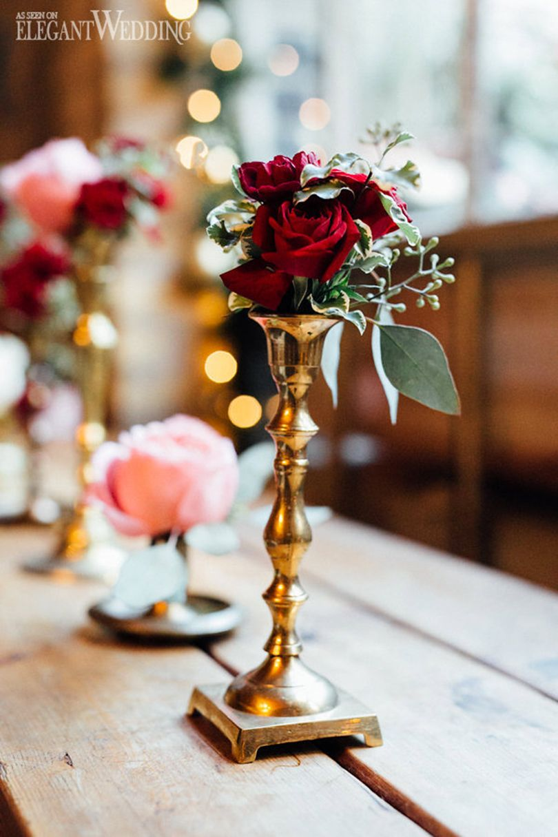 Winter wedding florals and decor vintage s christmas wedding