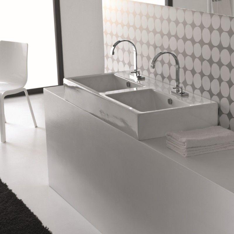 Hidra Ceramica | Doppel-Waschtisch Loft | 108cm ... | {Doppelwaschtisch aufsatzwaschbecken 56}