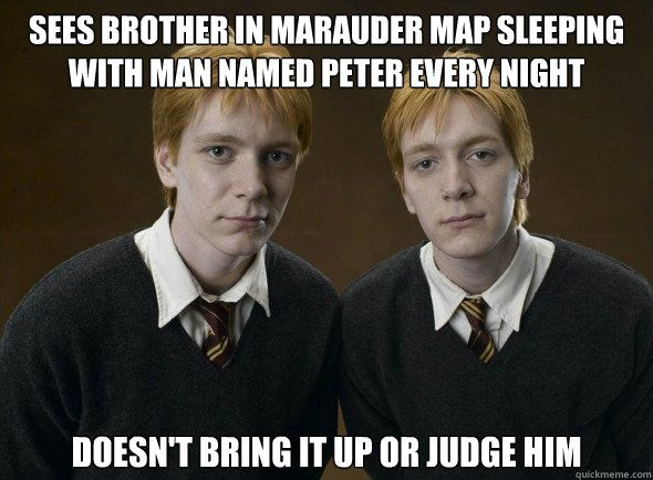 Haha Now That You Mention It That Is A Bit Odd But They Were Probably Too Focused On Their Own Harry Potter Memes Fred And George Weasley Harry Potter Funny