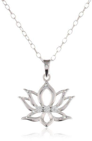 Diaura Sterling Silver Diamond Accent Lotus Flower Pendant Necklace