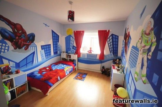 Image Detail For Modern Design With Hand Painted Kids Murals Bedroom Spiderman