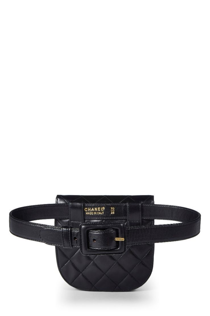 4eca8312ce248d What Goes Around Comes Around Black Quilted Lambskin Round Belt Bag - Chanel