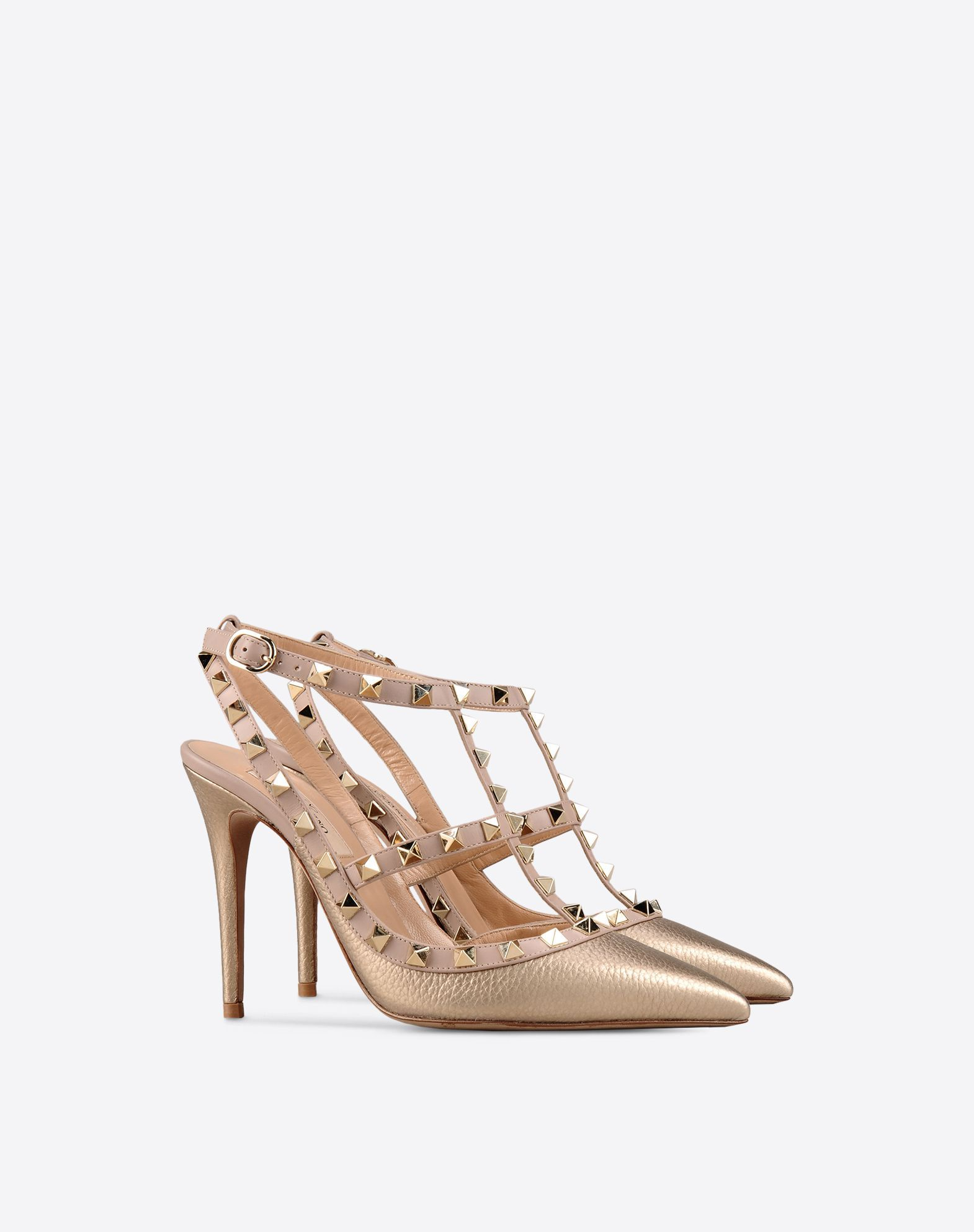 453ab32ff5bfe Metallic Grain calfskin leather Rockstud caged Pump 100mm for Woman |  Valentino Online Boutique