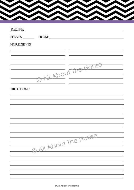 Printable Chevron Recipe Sheet Template  Recipe Card  Recipe