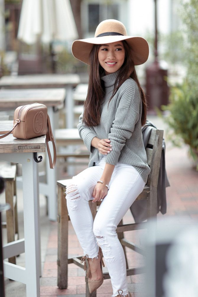 f5077c64912d neutral gray + camel    stylish casual white jeans outfit ideas by extra  petite blog