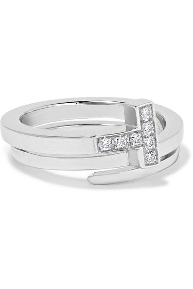 268f784fe TIFFANY & CO T Wrap 18-karat white gold diamond ring. #tiffanyco #fine  jewelry
