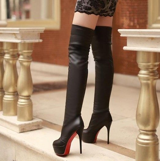 New Winter Fashion Sexy Thin High-heeled Women's Slim Woman Thigh ...
