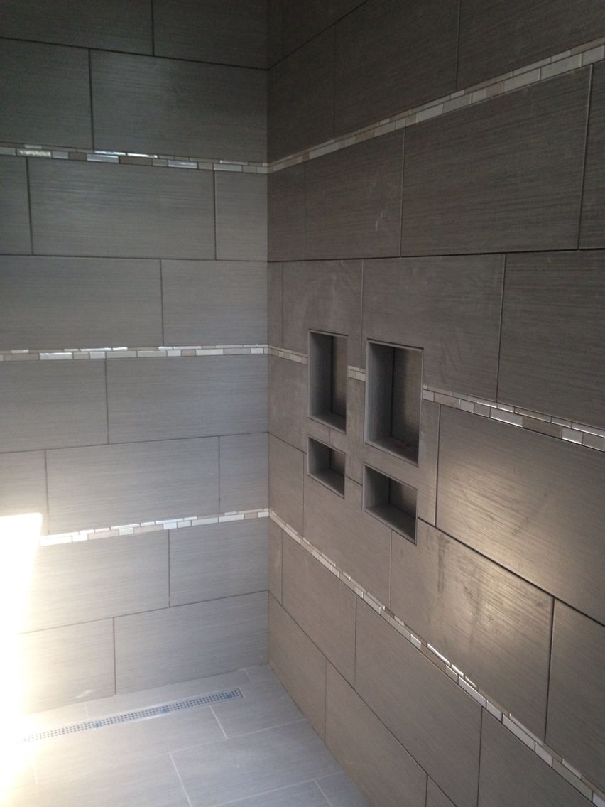 Custom Tiled Shower With 12x24 Tile Installed Horizontally With Glass And Stone Mosaic Accents Custom Tile Shower Bathroom Styling Shower Tile