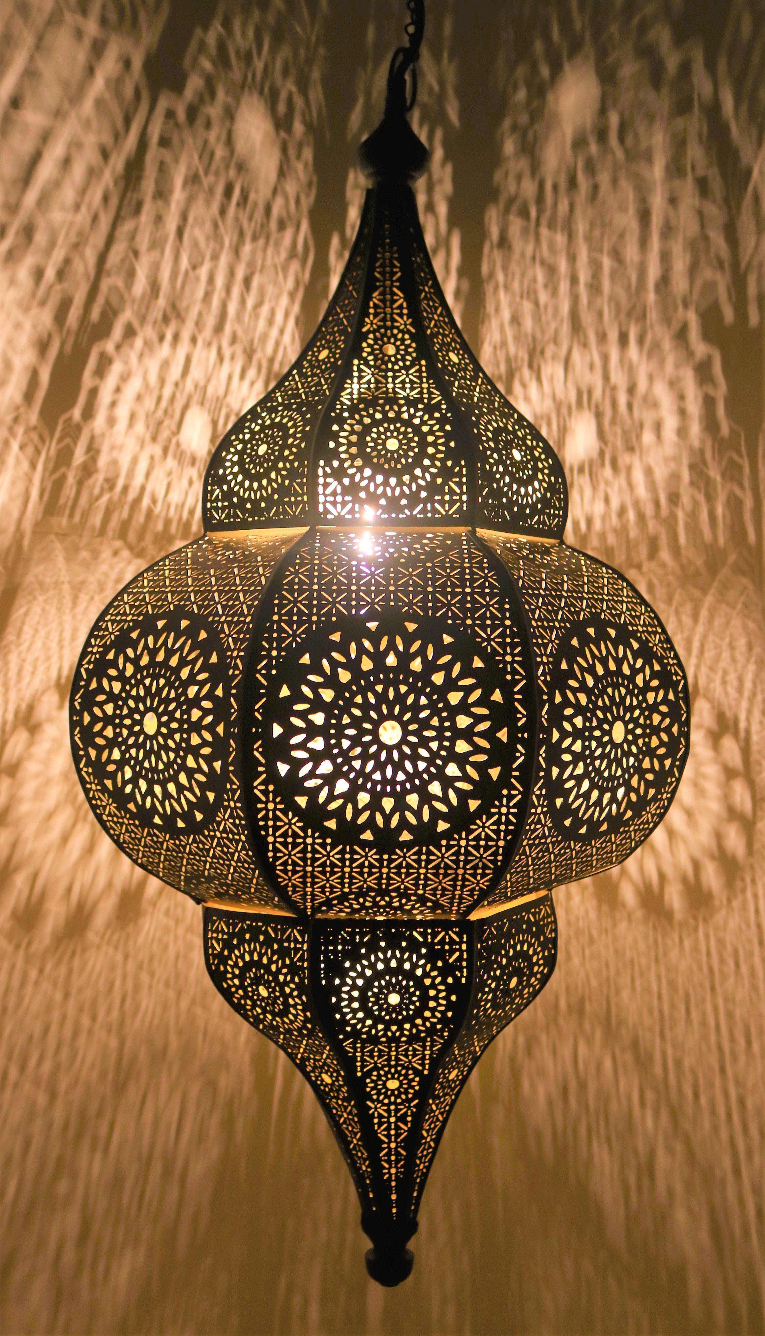 Aisha Moroccan Hanging Lantern Black Plug In Or Hardwire