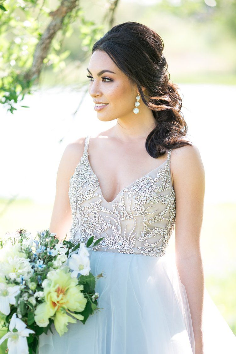 Melissa Glynn Photography.  Hayley Paige gown, The Heirloom Table floral, Posh Events design, Blush Bridal Lounge in Austin, TX, Birch & Brass Rentals, Lola Beauty hair and makeup, Ma Maison in Dripping Springs