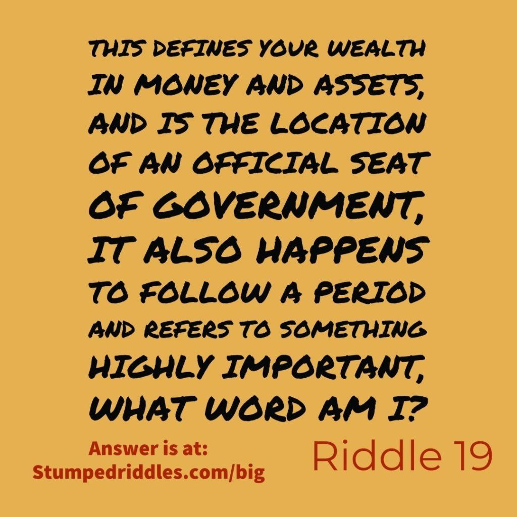 19. A Riddle of Importance in 2020 Riddles, Riddles to