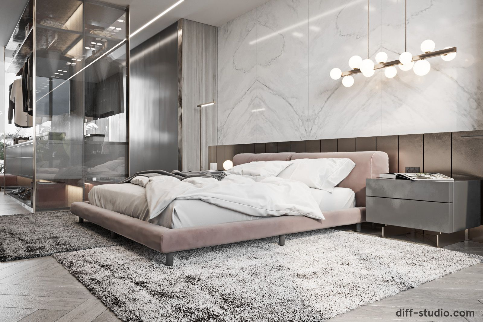 Contemporary house in Paris. Master bedroom  Contemporary bedroom