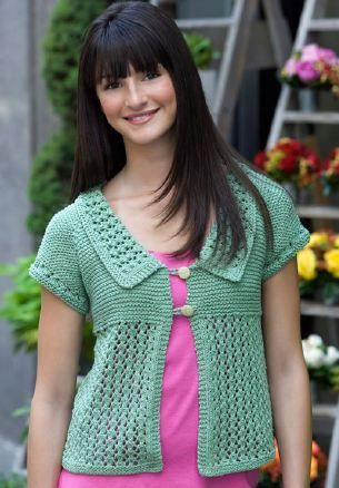 b0cb46a66 Garter Lace Cardigan Knitting Pattern from Red Heart Yarn