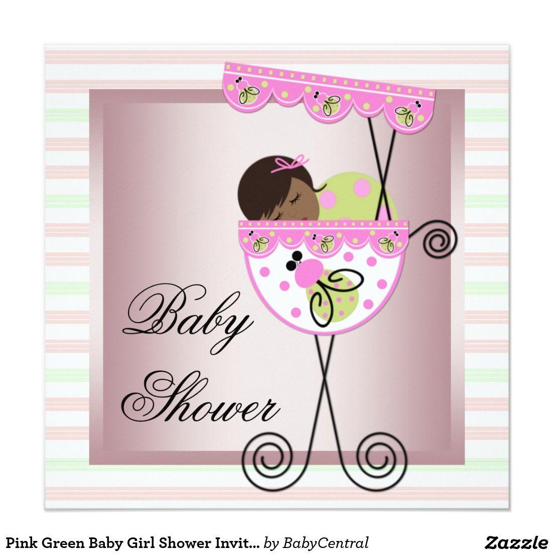 Pink Green Baby Girl Shower Invitations   Baby girl shower, Shower ...