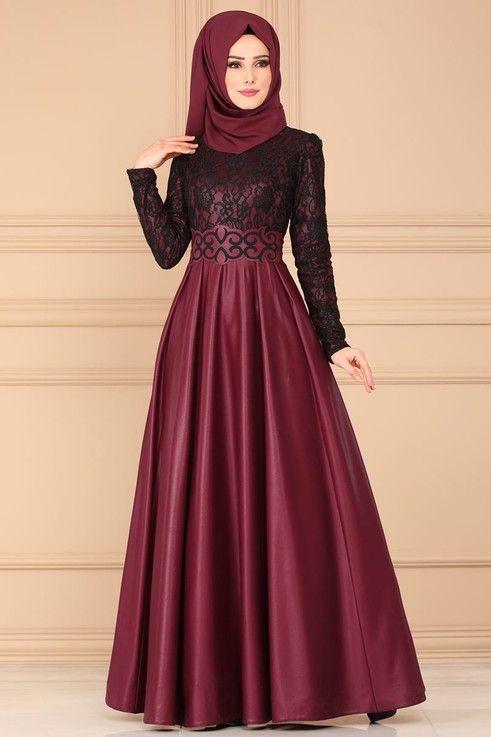 Modaselvim Abiye Flok Kemerli Abiye Asm2133 Bordo Pakaian Wanita Model Baju Wanita Model Pakaian