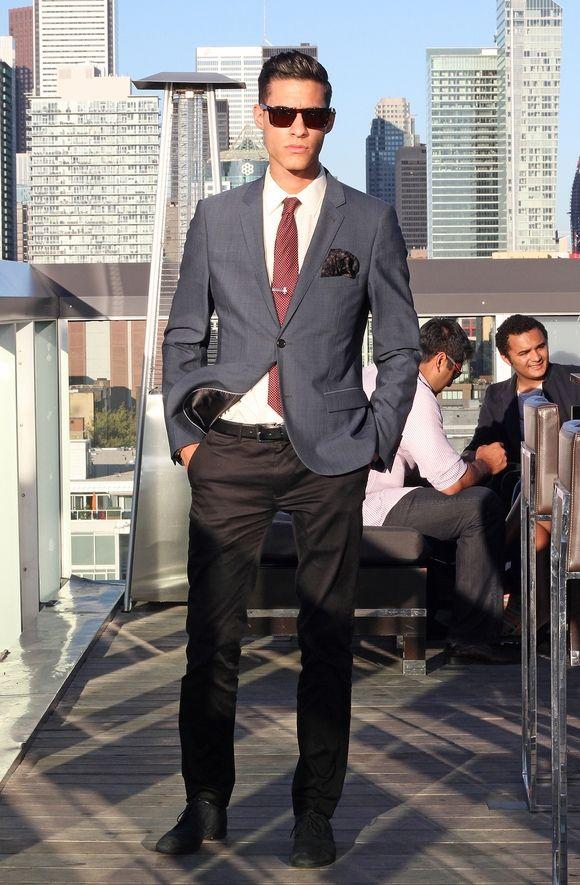 White dress shirt, red tie, grey blazer, dark grey pants, black ...