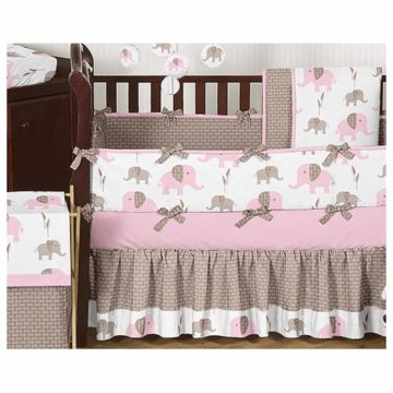c76c15b9270d5 Sweet JoJo Designs Elephant Pink 9 Piece Crib Bedding Set