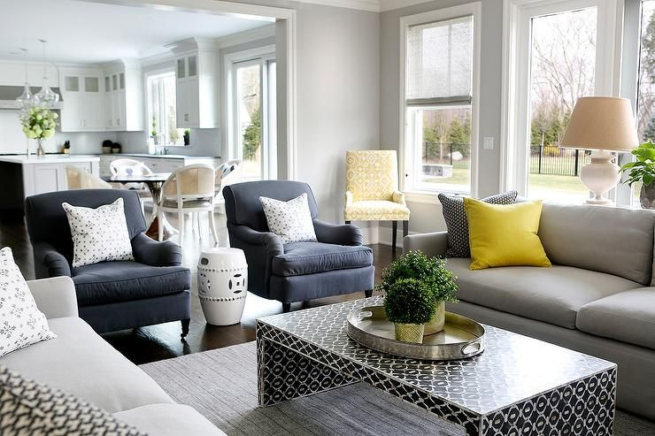Gray And Blue Living Room Features A Pair Of Dove Gray Sofas Lined