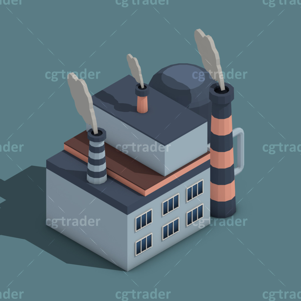 Low Poly Building Industry Isometric Icon 3d Model Isometric Low Poly Industrial Buildings