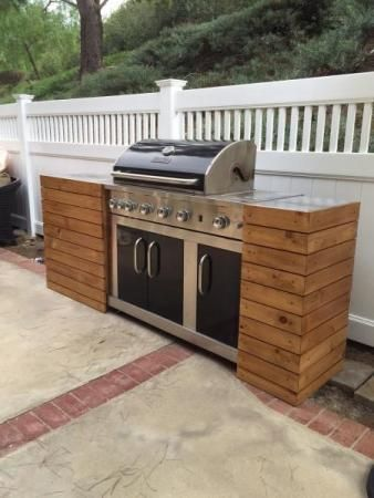 Diy grill tables make a standard grill look built in like for Backyard built in bbq ideas