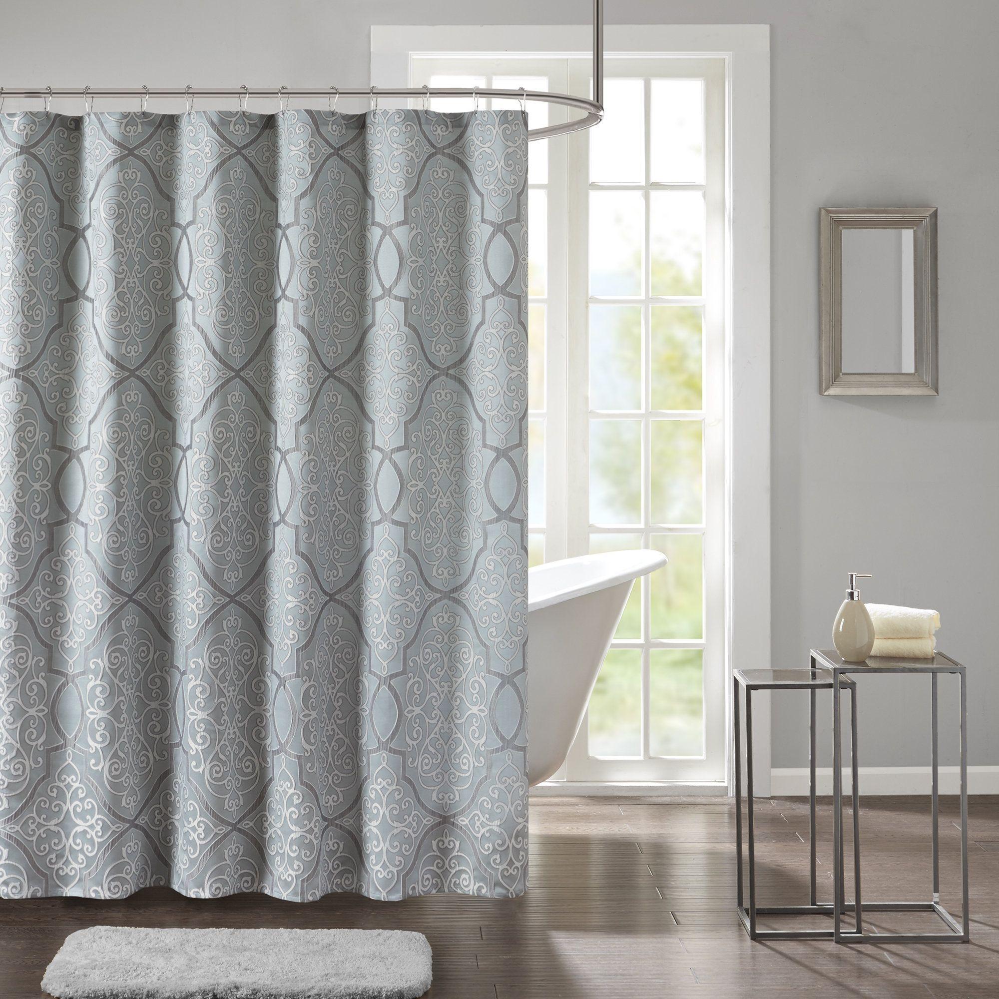 Madison Park Anouk Jacquard Shower Curtain 72x72 Blue Blue
