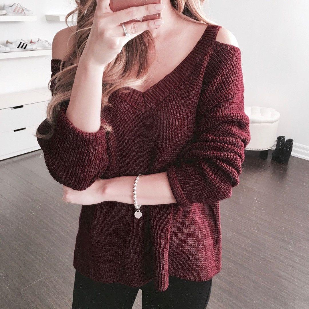 Vivian Off Shoulder Sweater - Maroon | Shoulder, Cold weather ...