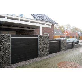 Wpc Terrassenplatten wpc zaun kombination mit gabionen deco front gates
