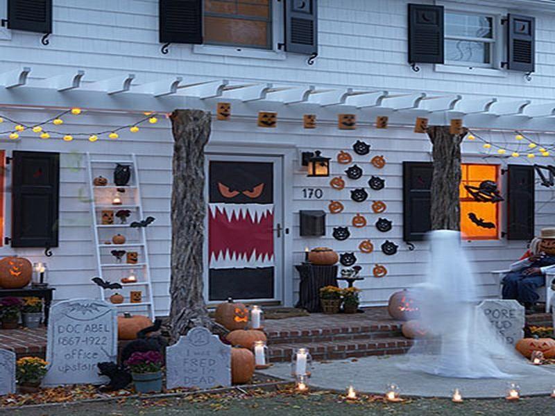 Ideas Inspirations Elegant Halloween Porch Decor Outdoor