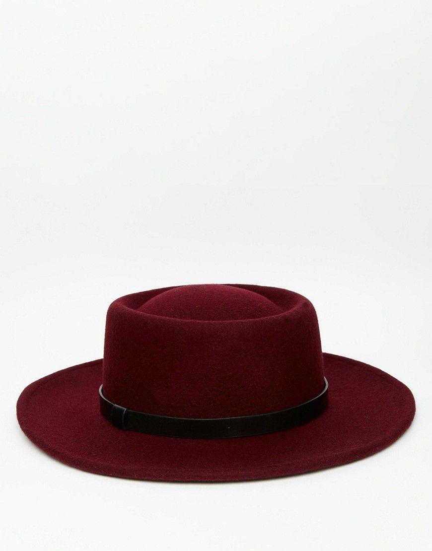 22284e2805e ASOS Pork Pie Hat In Burgundy With Wide Brim