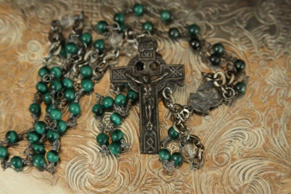 SALE   Beautiful rosary with green malachite by AnotherSeason