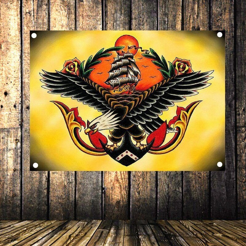 Large exaggerated tattoo art poster four hole banner
