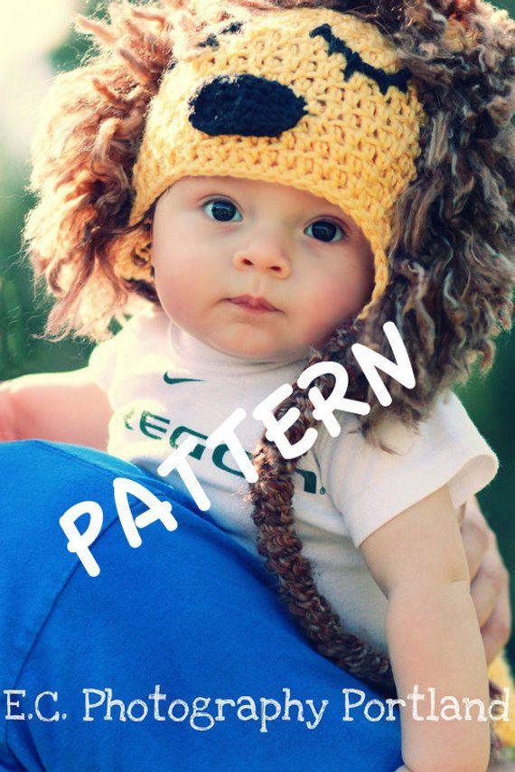 ce308f53b12 Crochet PATTERN Lion Hat King of the Jungle PDF sizes newborn - child